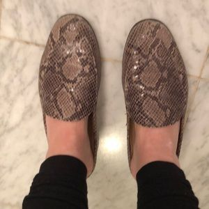 Snakeskin slip on loafers